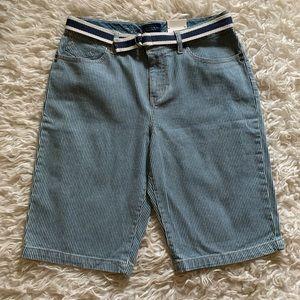 NWT Sonoma blu/wht striped jeans shorts, size 10